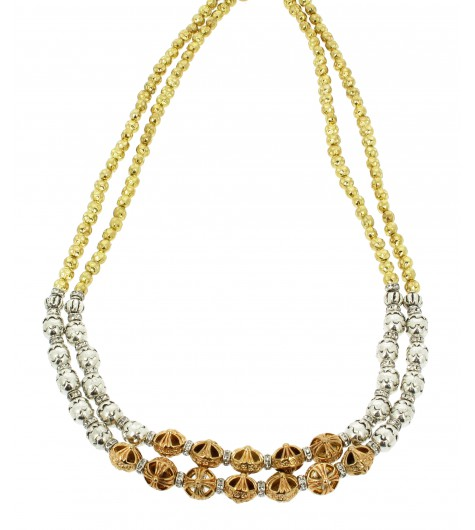 Necklace - Double chain, elaborated beads.