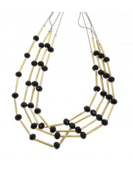 Collier - Multirangs, perles à facettes et tubes.