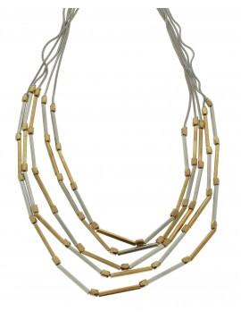 Collier - Multirangs, perles rondes et tubes.