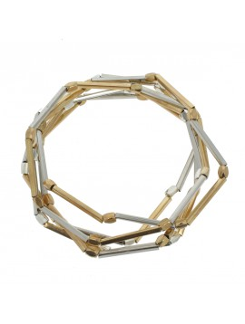 Bracelet - Multi-chains, round beads and metal tubes.