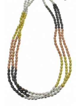 Collier - Trois rangs, perles façon grain de riz.