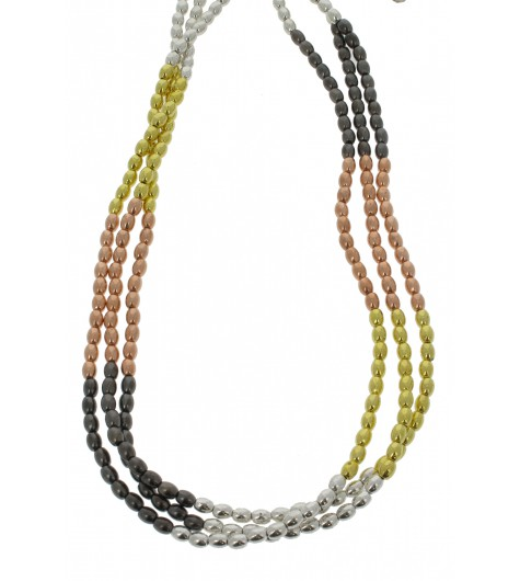 Necklace - Three chains, rice style beads.