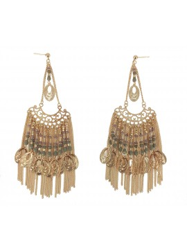 Earrings - Hanging chains and beads.