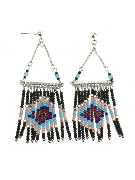 Earrings - Hanging beads, diamond pattern.