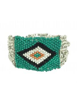 Bracelet - Multi row small beads and diamond pattern.