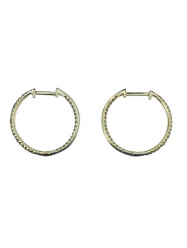 Sterling silver earrings - Medium rhinestone hoops.