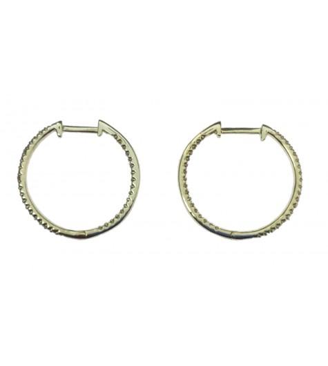 Sterling silver earrings - Medium rhinestone hoops.