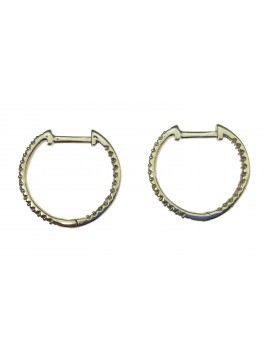Sterling silver earrings - Small rhinestone hoops.