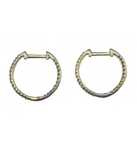 Sterling silver earrings - Small rhinestone hoops.