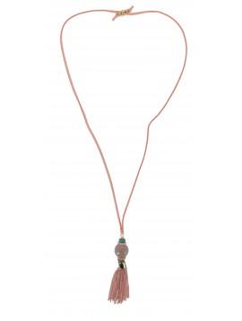 Collier Long - Cordon daim avec pompon chaînes et grosse perle.