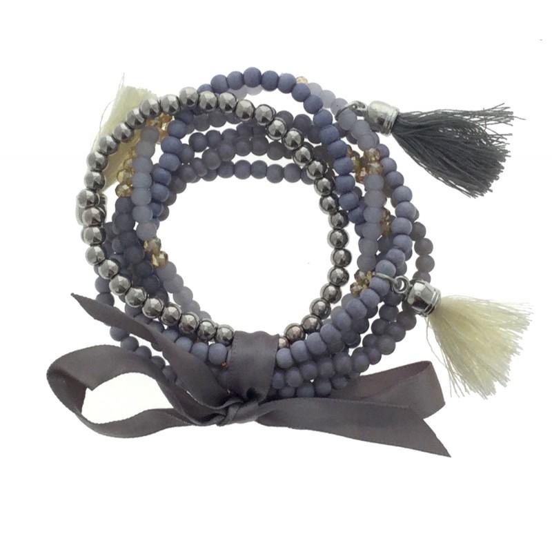 Multi Et Perles Satin Bracelet Rangs Avec Nœud Pompon shQrdCt