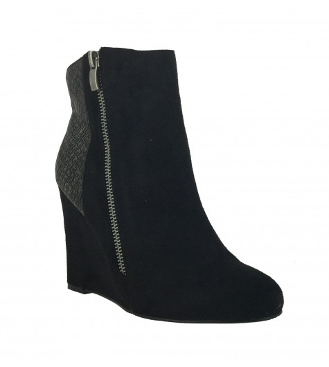 Ankle boots - High top wedge heels faux suede look and reptile ankle style.