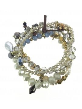 Bracelet - Multi rangs perles à facettes diverses.