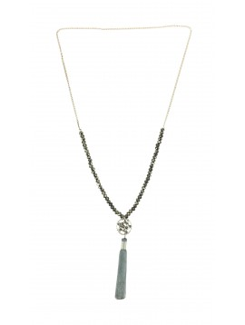 Long Necklace - Small circle with faceted beads and pompom charm.