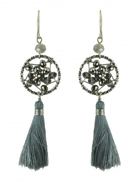 Earrings - Beads circles with pompom.