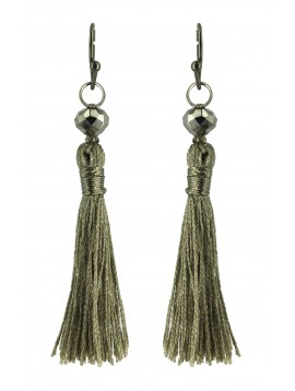Earrings - Pompoms with faceted beads.