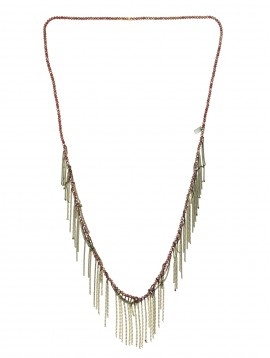 Long Necklace - Beads chain with thin chain tassels.