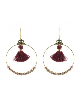 Earrings - Circles with pompom and faceted beads.