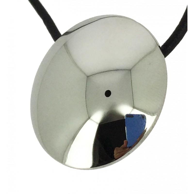 Collier acier disque miroir sur cordon cuir for Disque en miroir