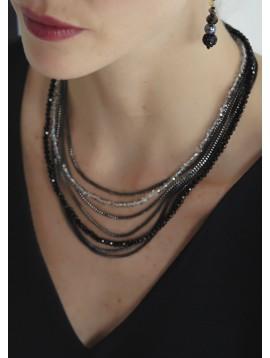 Collier - Multirangs perles facettes et chaines