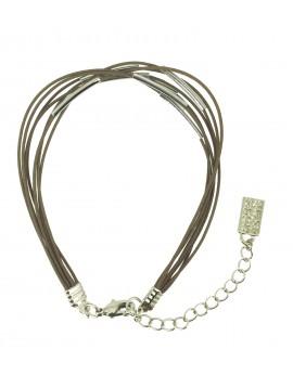 Bracelet - Multi laces with tubular beads.