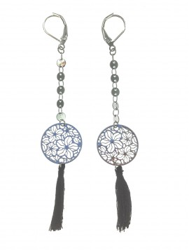 Earrings - Pendant filigree disc, flowers pattern with pompom charm.