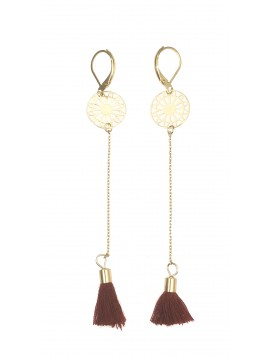 Earrings - Filigree pendant rose with pompon charm.
