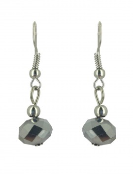 Earrings - Faceted bead charm.