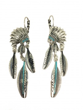 Earrings - Indian crest with metallic feathers.
