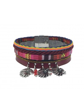 Bracelet - Fin multi rangs avec têtes d'indiens.