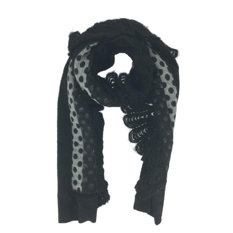 6e95a20d160e Echarpe - Avec pois et bord crochet style dentelle.