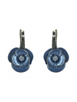 Earrings - Small flowers with rhinestone.