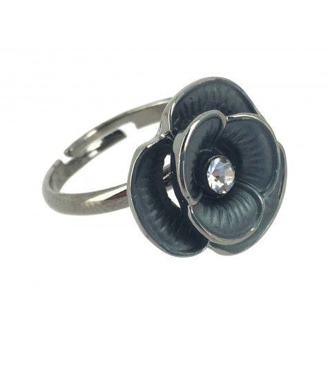 Ring - Small flowers with rhinestone.