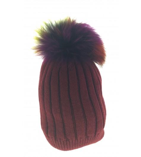 Bobble hat - Rib knit with fur pom pom.