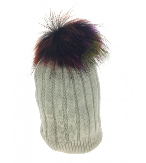 Bobble hat - Rib knit with fur pom pom.