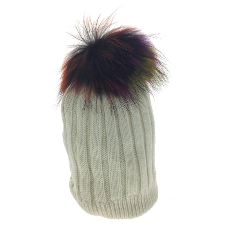 fe439d8390d08 Bonnet - Tricot avec pompon fourrure.