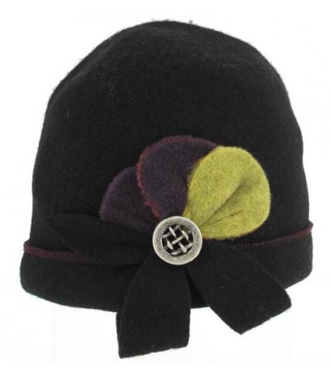 Bonnet laine fleur + bouton grillage