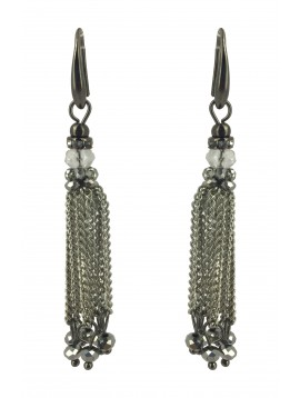 Earrings - Pedant chains and faceted beads.