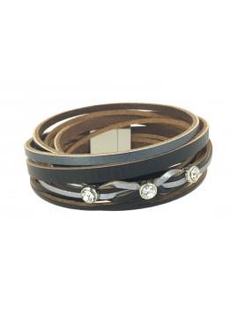 Bracelet - Multirangs cuir avec trois strass dessus.