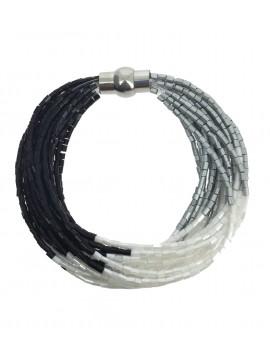 Bracelet - Multirangs perles tubulaires colorées.