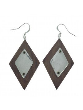 Earrings - Wooden diamonds with metallic plate decoration.