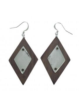 Boucles d'oreilles - Losanges en bois avec plaque en métal.
