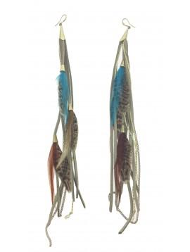 Boucles d'oreilles - Plumes avec liens et chaînes.