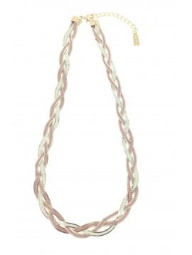 Collier - Multi chaînes tressées colorées.