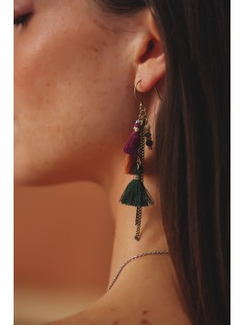 Earrings - Pompoms, thin chains and various beads.