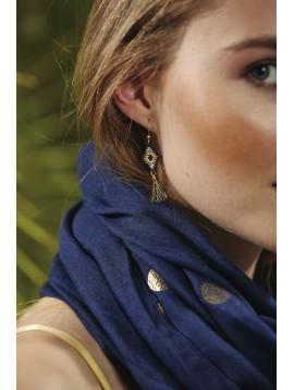 Boucles d'oreilles - Losanges en perles avec pompons.