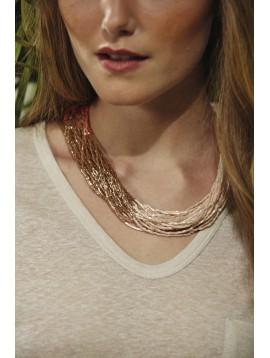 Necklace - Multirows tubular beads.