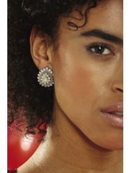 Boucles d'oreilles - Gouttes avec mini perles et strass.