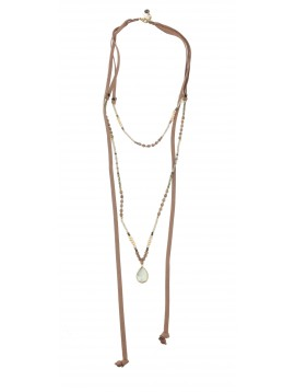 Long Necklace - Faux leather laces with various beads charms.