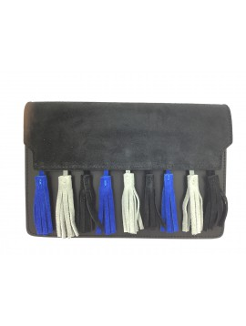 Leather cross body bag - Suede flap and pom poms decoration.